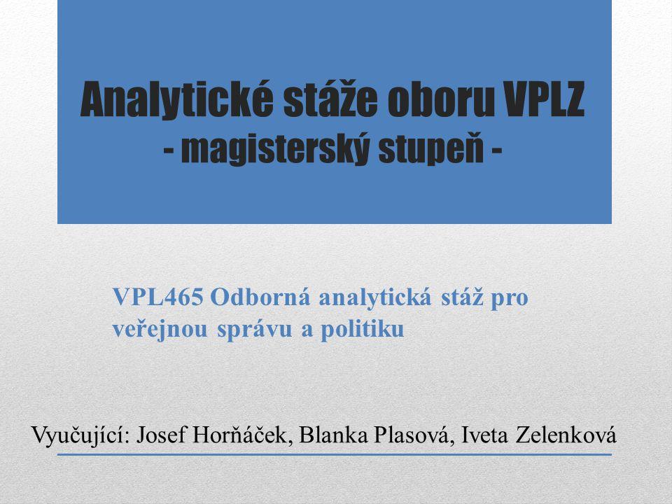 Analytické stáže oboru VPLZ - magisterský stupeň - Vyučující: Josef Horňáček, Blanka Plasová, Iveta Zelenková VPL465 Odborná analytická stáž pro veřej