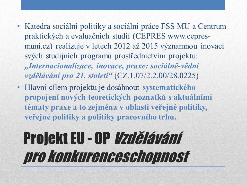 Projekt EU - OP Vzdělávání pro konkurenceschopnost Katedra sociální politiky a sociální práce FSS MU a Centrum praktických a evaluačních studií (CEPRE