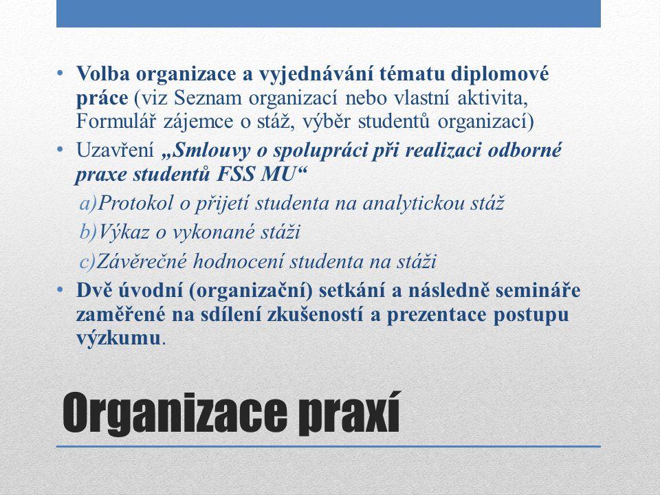 Organizace praxí Volba organizace a vyjednávání tématu diplomové práce (viz Seznam organizací nebo vlastní aktivita, Formulář zájemce o stáž, výběr st