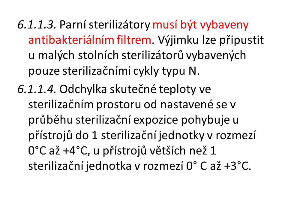 6.1.1.3.Parní sterilizátory musí být vybaveny antibakteriálním filtrem.