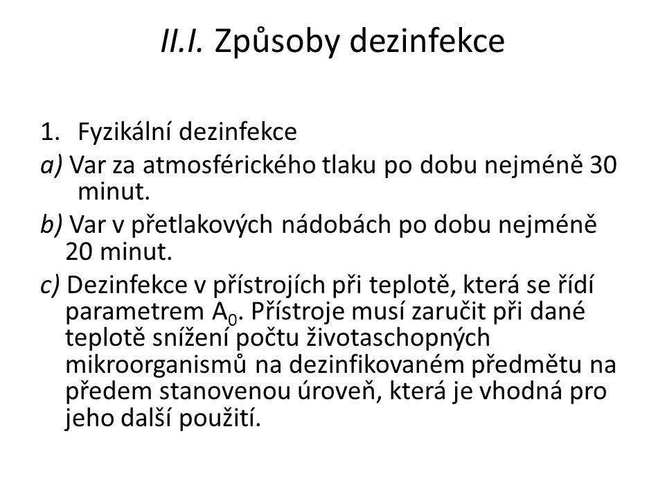 II.I. Způsoby dezinfekce 1.Fyzikální dezinfekce a) Var za atmosférického tlaku po dobu nejméně 30 minut. b) Var v přetlakových nádobách po dobu nejmén