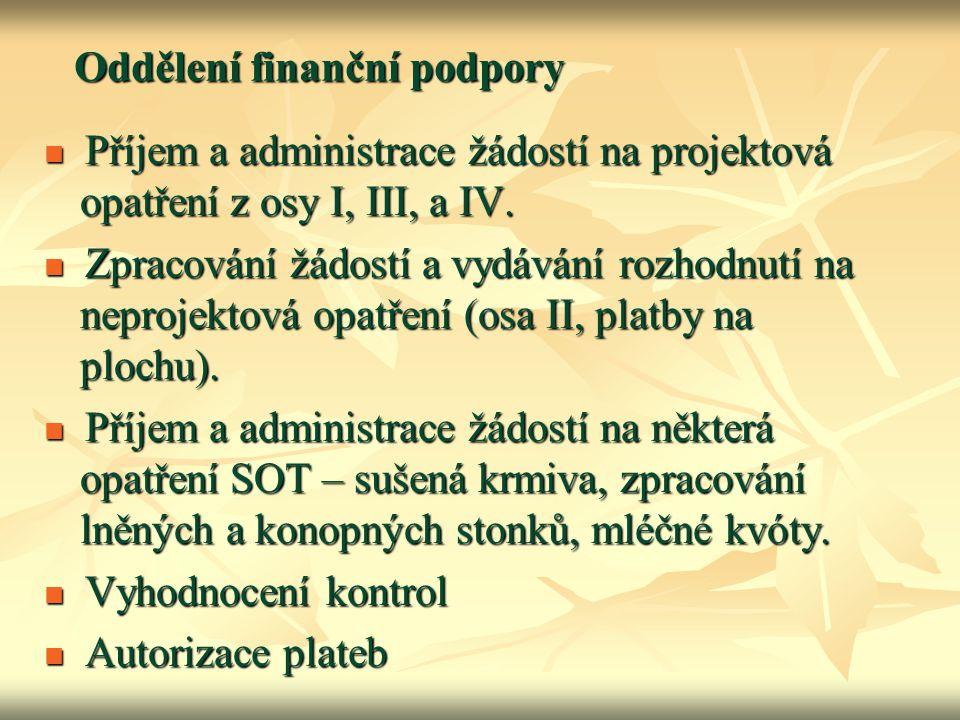 Oddělení finanční podpory Příjem a administrace žádostí na projektová opatření z osy I, III, a IV. Příjem a administrace žádostí na projektová opatřen