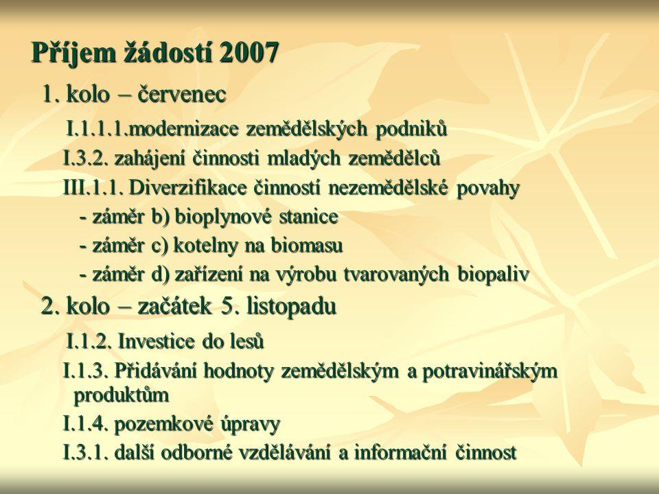 Příjem žádostí 2007 1. kolo – červenec I.1.1.1.modernizace zemědělských podniků I.1.1.1.modernizace zemědělských podniků I.3.2. zahájení činnosti mlad