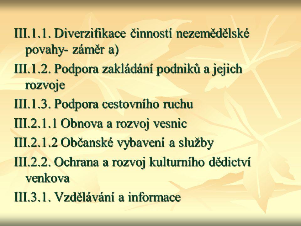 III.1.1. Diverzifikace činností nezemědělské povahy- záměr a) III.1.2. Podpora zakládání podniků a jejich rozvoje III.1.3. Podpora cestovního ruchu II