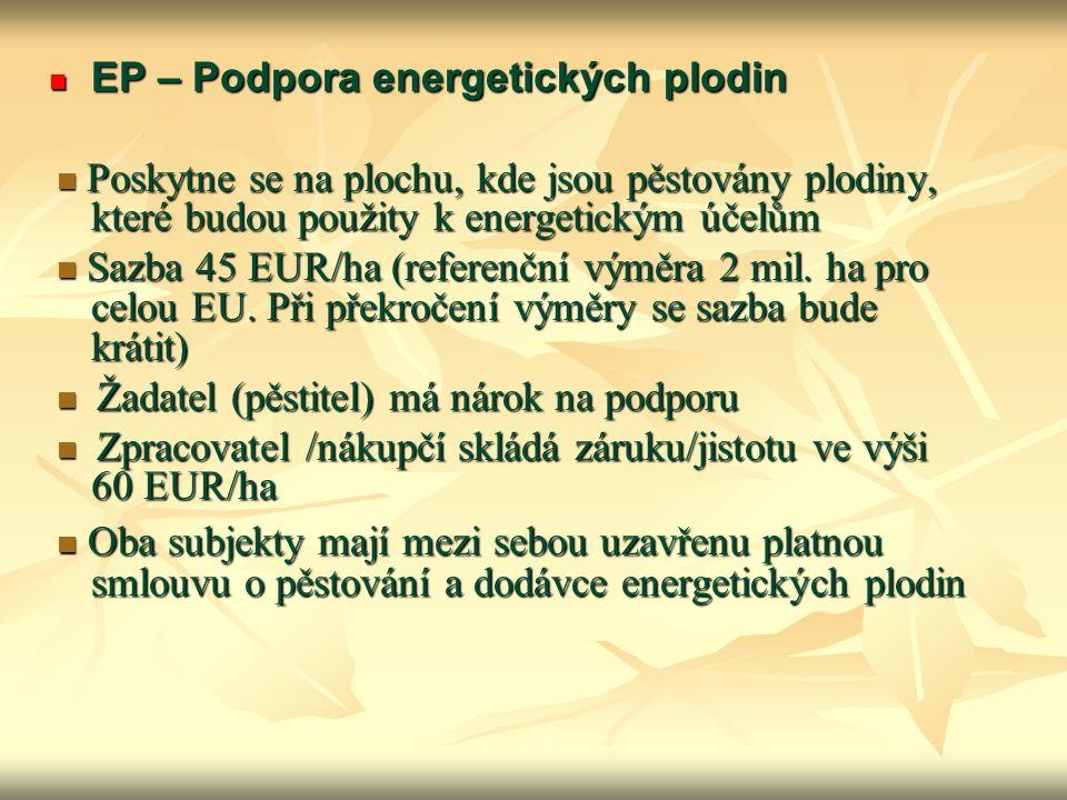 EP – Podpora energetických plodin EP – Podpora energetických plodin Poskytne se na plochu, kde jsou pěstovány plodiny, které budou použity k energetic