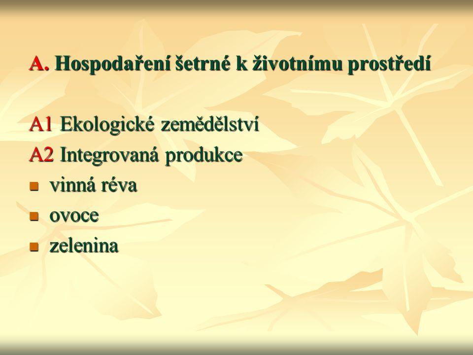 A. Hospodaření šetrné k životnímu prostředí A1 Ekologické zemědělství A2 Integrovaná produkce vinná réva vinná réva ovoce ovoce zelenina zelenina