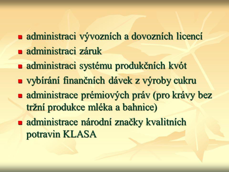 administraci vývozních a dovozních licencí administraci vývozních a dovozních licencí administraci záruk administraci záruk administraci systému produ