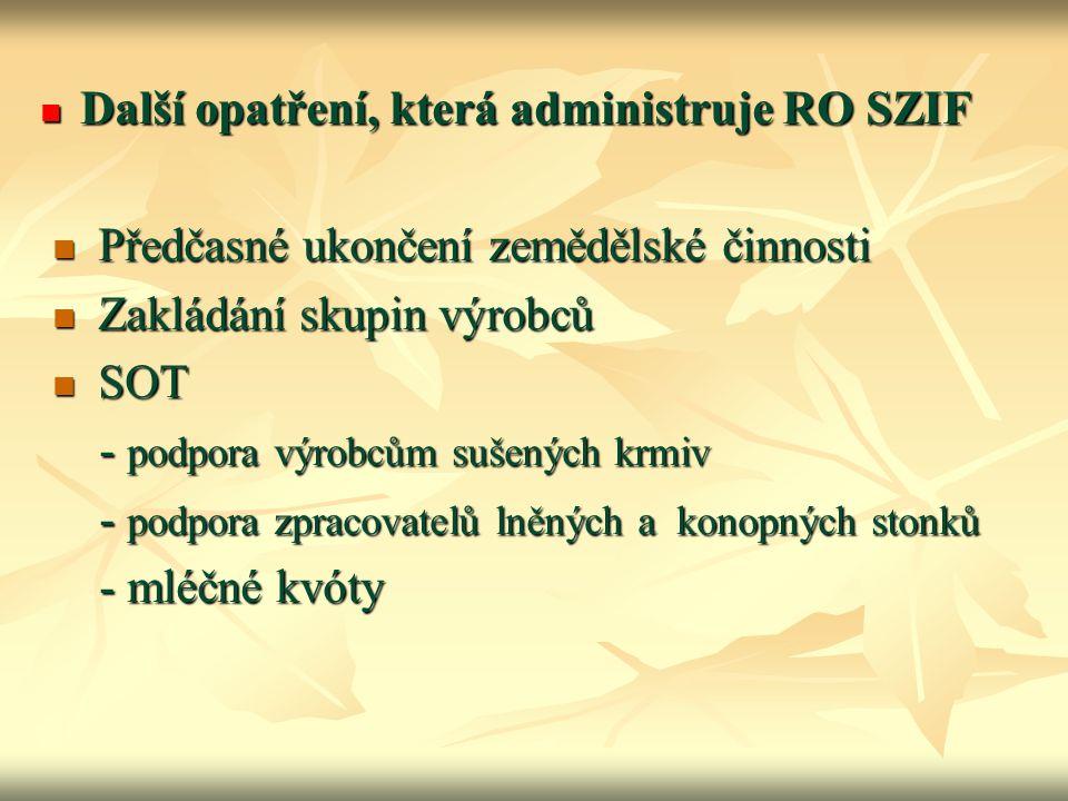Další opatření, která administruje RO SZIF Další opatření, která administruje RO SZIF Předčasné ukončení zemědělské činnosti Předčasné ukončení zemědě