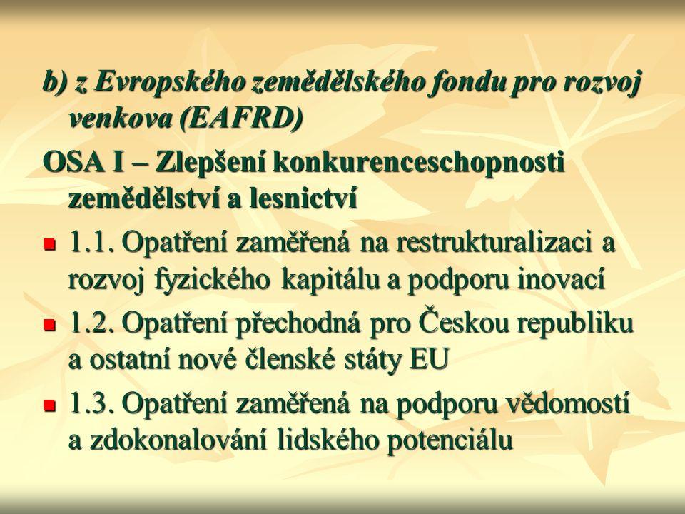 b) z Evropského zemědělského fondu pro rozvoj venkova (EAFRD) OSA I – Zlepšení konkurenceschopnosti zemědělství a lesnictví 1.1. Opatření zaměřená na