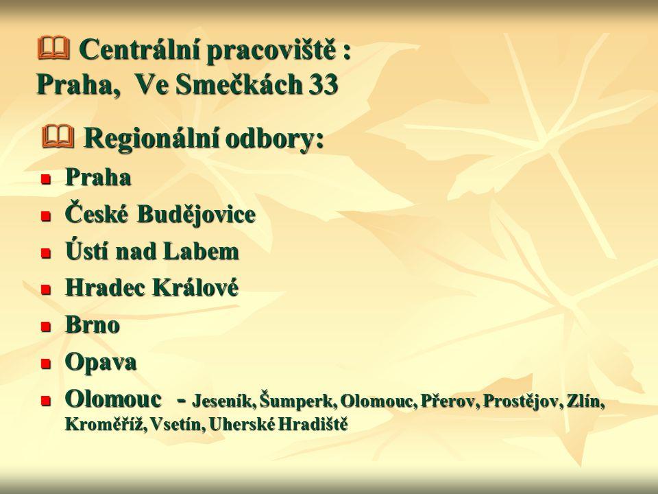  Centrální pracoviště : Praha, Ve Smečkách 33  Regionální odbory: Praha Praha České Budějovice České Budějovice Ústí nad Labem Ústí nad Labem Hradec