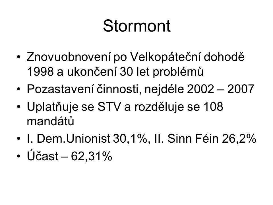 Stormont Znovuobnovení po Velkopáteční dohodě 1998 a ukončení 30 let problémů Pozastavení činnosti, nejdéle 2002 – 2007 Uplatňuje se STV a rozděluje se 108 mandátů I.