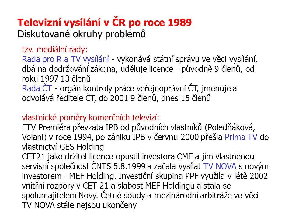 Televizní vysílání v ČR po roce 1989 Diskutované okruhy problémů tzv. mediální rady: Rada pro R a TV vysílání - vykonává státní správu ve věci vysílán