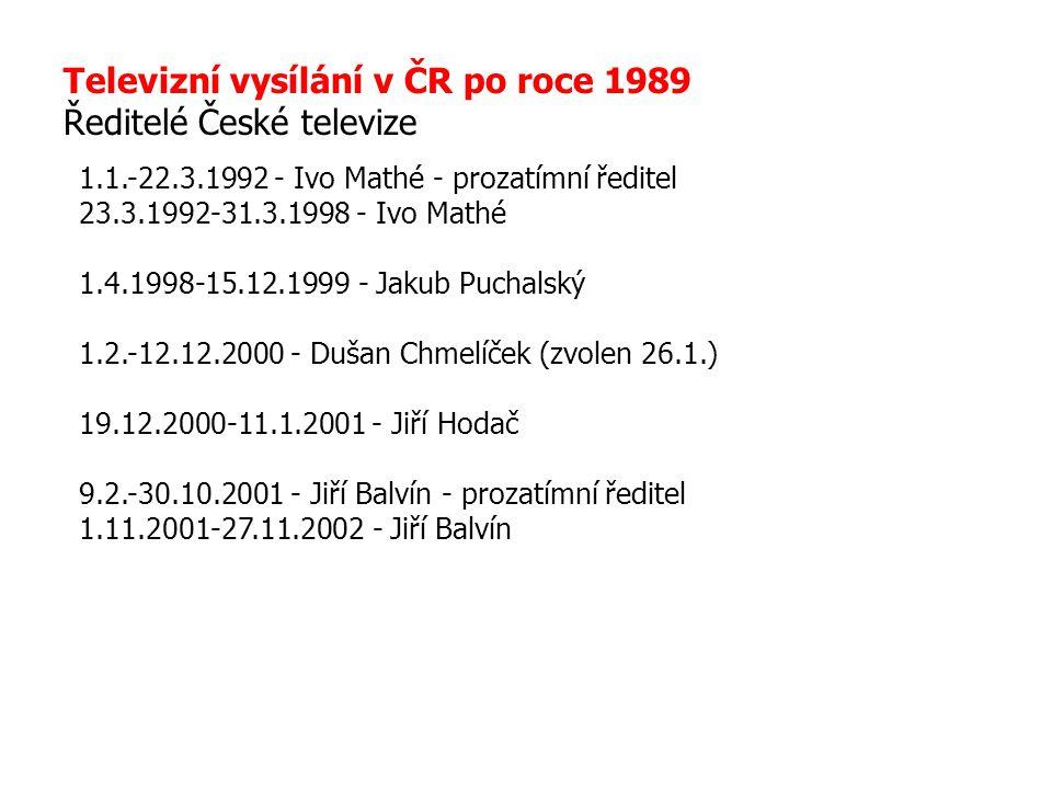Televizní vysílání v ČR po roce 1989 Ředitelé České televize 1.1.-22.3.1992 - Ivo Mathé - prozatímní ředitel 23.3.1992-31.3.1998 - Ivo Mathé 1.4.1998-