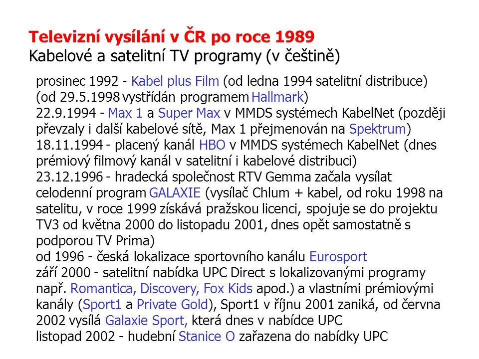 Televizní vysílání v ČR po roce 1989 Kabelové a satelitní TV programy (v češtině) prosinec 1992 - Kabel plus Film (od ledna 1994 satelitní distribuce)