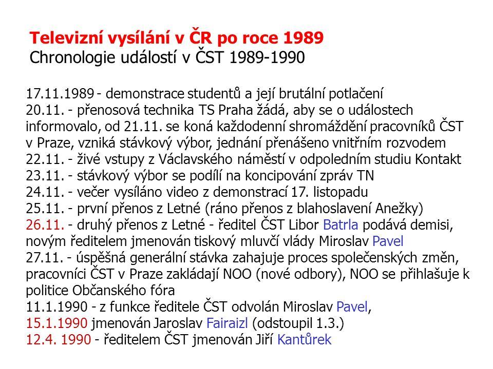 Televizní vysílání v ČR po roce 1989 Chronologie událostí v ČST 1989-1990 17.11.1989 - demonstrace studentů a její brutální potlačení 20.11. - přenoso