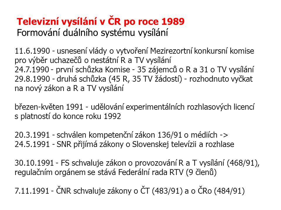 Televizní vysílání v ČR po roce 1989 Formování duálního systému vysílání 11.6.1990 - usnesení vlády o vytvoření Mezirezortní konkursní komise pro výbě