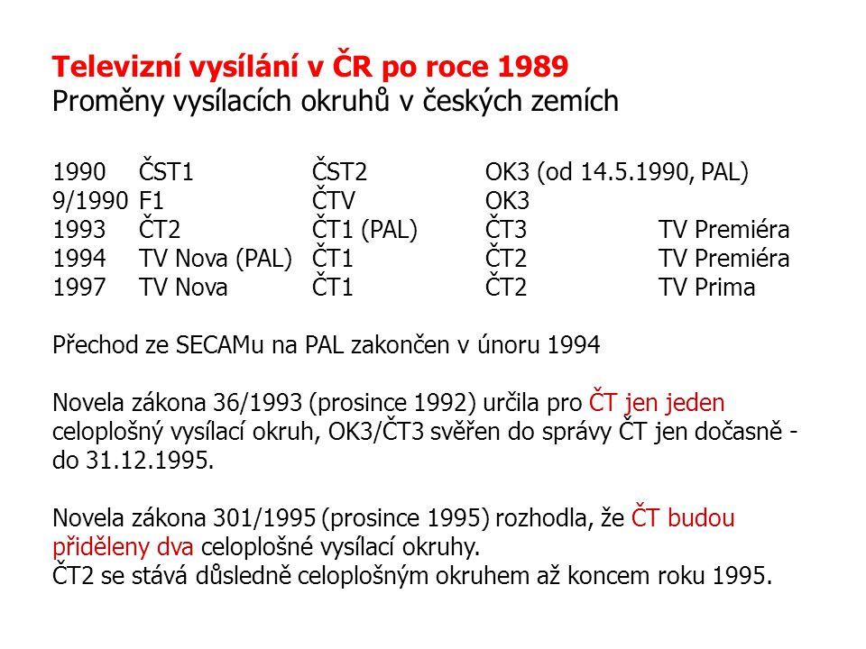 Televizní vysílání v ČR po roce 1989 Proměny vysílacích okruhů v českých zemích 1990ČST1ČST2OK3 (od 14.5.1990, PAL) 9/1990F1ČTVOK3 1993ČT2ČT1 (PAL)ČT3