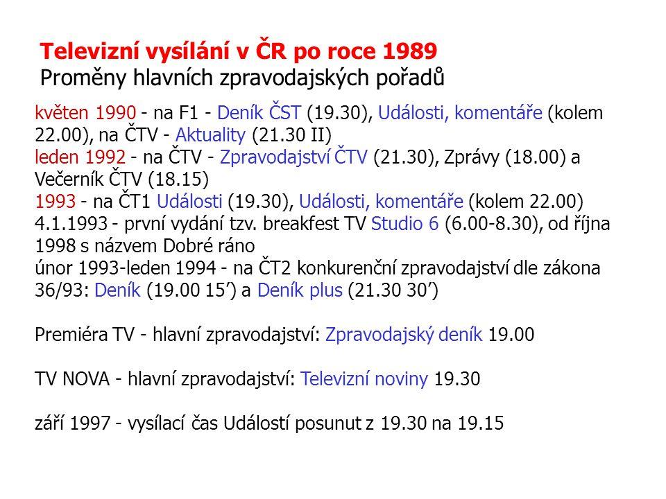 Televizní vysílání v ČR po roce 1989 Proměny hlavních zpravodajských pořadů květen 1990 - na F1 - Deník ČST (19.30), Události, komentáře (kolem 22.00)