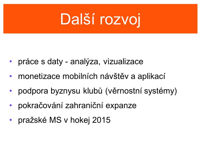 Další rozvoj práce s daty - analýza, vizualizace monetizace mobilních návštěv a aplikací podpora byznysu klubů (věrnostní systémy) pokračování zahraniční expanze pražské MS v hokej 2015
