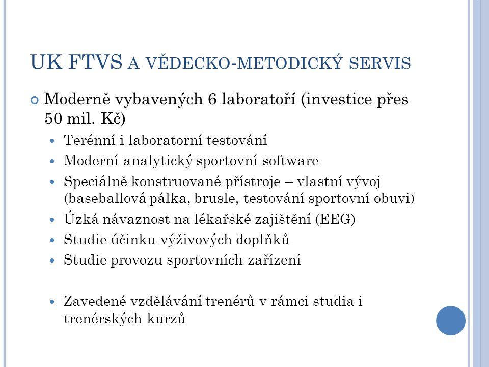 UK FTVS A VĚDECKO - METODICKÝ SERVIS Moderně vybavených 6 laboratoří (investice přes 50 mil.