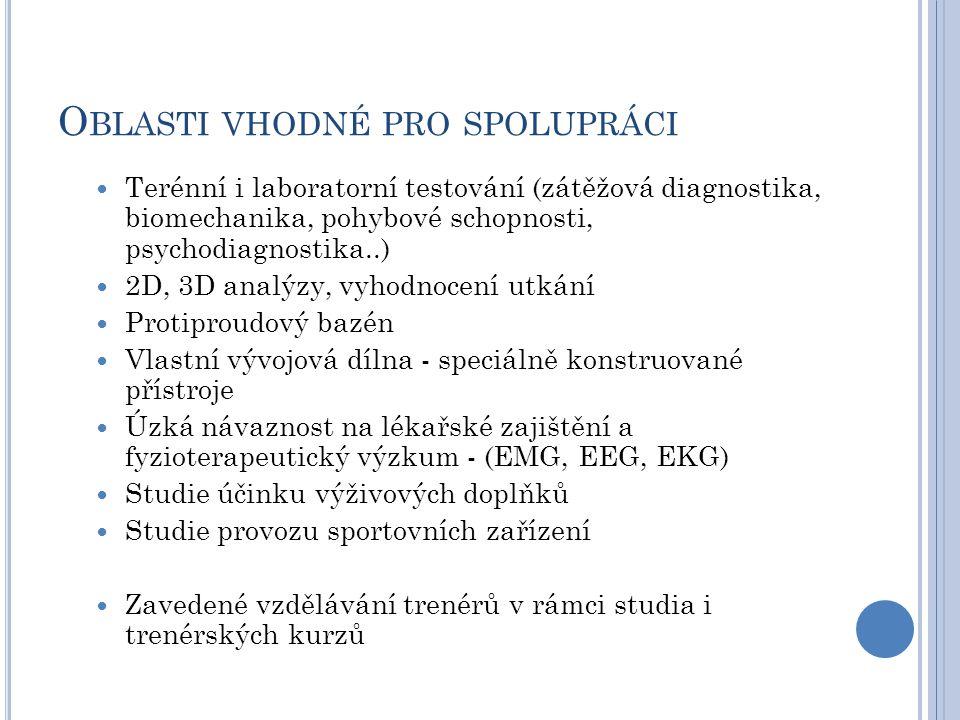 O BLASTI VHODNÉ PRO SPOLUPRÁCI Terénní i laboratorní testování (zátěžová diagnostika, biomechanika, pohybové schopnosti, psychodiagnostika..) 2D, 3D analýzy, vyhodnocení utkání Protiproudový bazén Vlastní vývojová dílna - speciálně konstruované přístroje Úzká návaznost na lékařské zajištění a fyzioterapeutický výzkum - (EMG, EEG, EKG) Studie účinku výživových doplňků Studie provozu sportovních zařízení Zavedené vzdělávání trenérů v rámci studia i trenérských kurzů