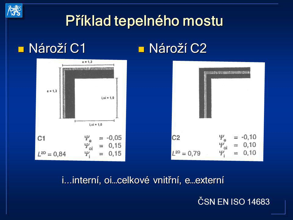 Příklad tepelného mostu Nároží C1 Nároží C1 Nároží C2 Nároží C2 ČSN EN ISO 14683 i...interní, oi…celkové vnitřní, e…externí