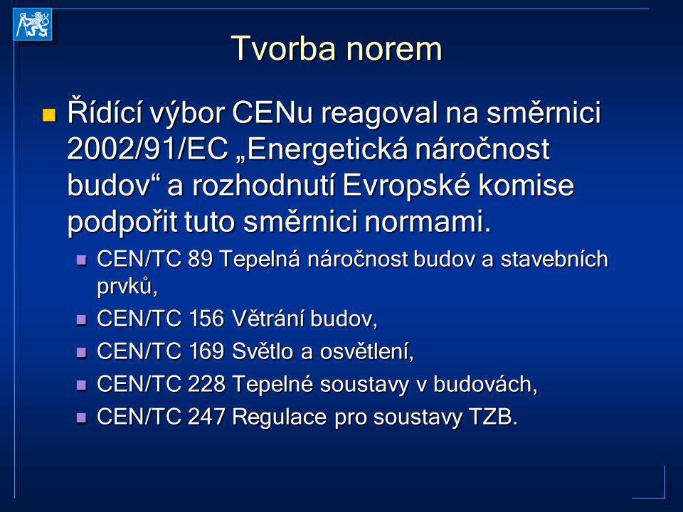 """Řídící výbor CENu reagoval na směrnici 2002/91/EC """"Energetická náročnost budov"""" a rozhodnutí Evropské komise podpořit tuto směrnici normami. Řídící vý"""