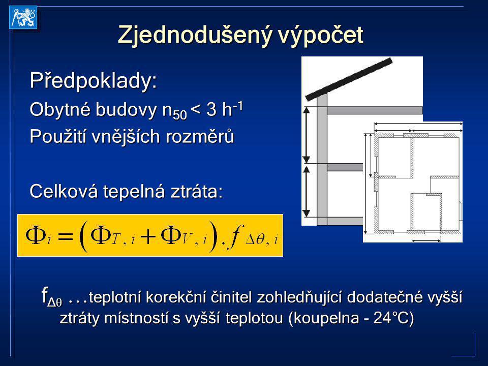 Zjednodušený výpočet Předpoklady: Obytné budovy n 50 < 3 h -1 Použití vnějších rozměrů Celková tepelná ztráta: f Δ θ … teplotní korekční činitel zohle