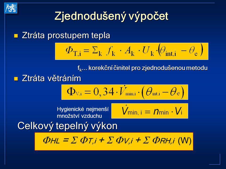 Zjednodušený výpočet Ztráta prostupem tepla Ztráta prostupem tepla f k... korekční činitel pro zjednodušenou metodu f k... korekční činitel pro zjedno