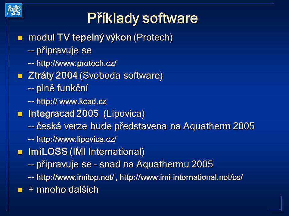 Příklady software modul TV tepelný výkon (Protech) modul TV tepelný výkon (Protech) –– připravuje se –– http://www.protech.cz/ Ztráty 2004 (Svoboda so
