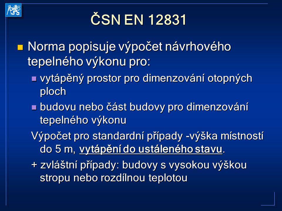 ČSN EN 12831 Norma popisuje výpočet návrhového tepelného výkonu pro: Norma popisuje výpočet návrhového tepelného výkonu pro: vytápěný prostor pro dime