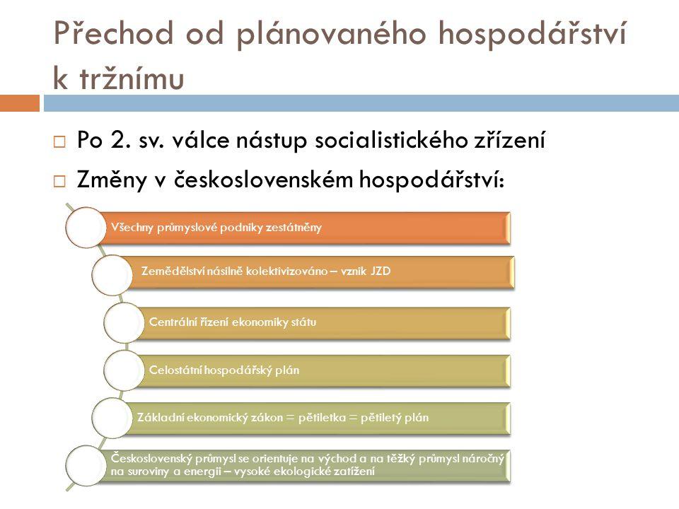 Přechod od plánovaného hospodářství k tržnímu  Po 2. sv. válce nástup socialistického zřízení  Změny v československém hospodářství: Všechny průmysl