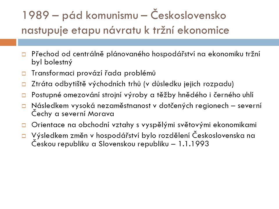 1989 – pád komunismu – Československo nastupuje etapu návratu k tržní ekonomice  Přechod od centrálně plánovaného hospodářství na ekonomiku tržní byl