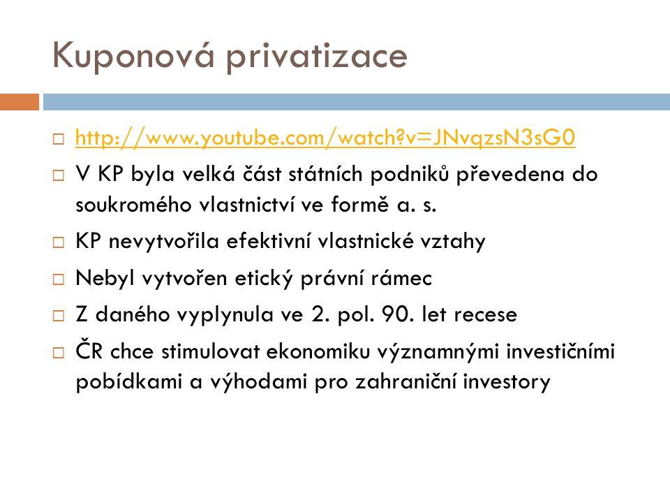 Kuponová privatizace  http://www.youtube.com/watch?v=JNvqzsN3sG0 http://www.youtube.com/watch?v=JNvqzsN3sG0  V KP byla velká část státních podniků p