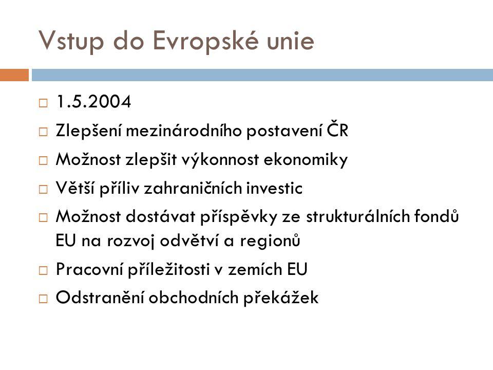 Vstup do Evropské unie  1.5.2004  Zlepšení mezinárodního postavení ČR  Možnost zlepšit výkonnost ekonomiky  Větší příliv zahraničních investic  M