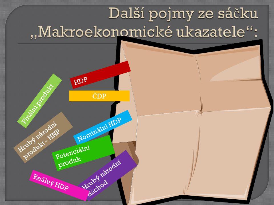 HDP Nominální HDP Finální produkt Hrubý národní d ů chod Reálný HDP Č DP Hrubý národní produkt - HNP Potenciální produk