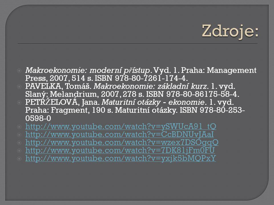  Makroekonomie: moderní p ř ístup. Vyd. 1. Praha: Management Press, 2007, 514 s.