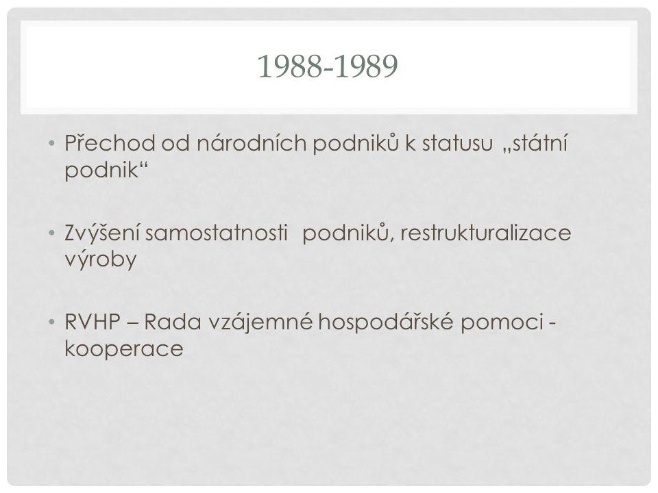"""1988-1989 Přechod od národních podniků k statusu """"státní podnik Zvýšení samostatnosti podniků, restrukturalizace výroby RVHP – Rada vzájemné hospodářské pomoci - kooperace"""