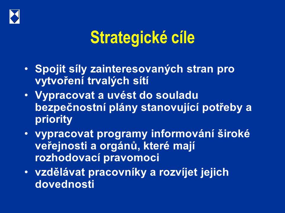 Strategické cíle Spojit síly zainteresovaných stran pro vytvoření trvalých sítí Vypracovat a uvést do souladu bezpečnostní plány stanovující potřeby a