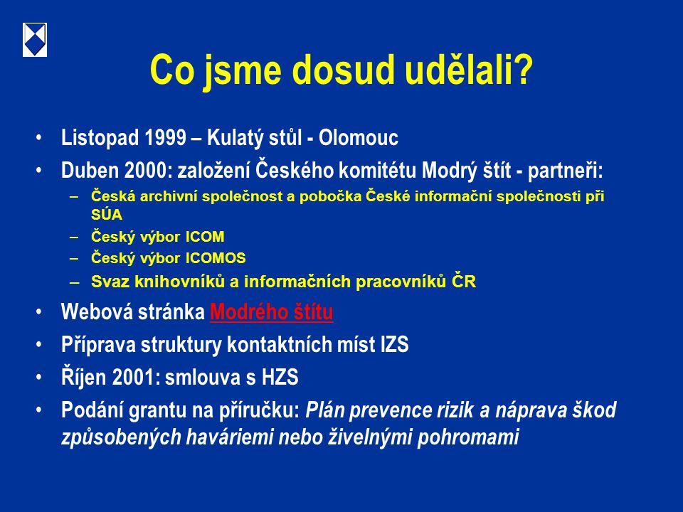 Co jsme dosud udělali? Listopad 1999 – Kulatý stůl - Olomouc Duben 2000: založení Českého komitétu Modrý štít - partneři: –Česká archivní společnost a
