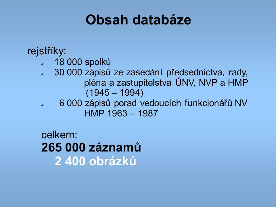Obsah databáze rejstříky: 18 000 spolků 30 000 zápisů ze zasedání předsednictva, rady, pléna a zastupitelstva ÚNV, NVP a HMP (1945 – 1994) 6 000 zápis