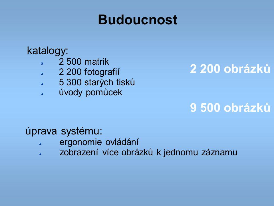 Budoucnost katalogy: 2 500 matrik 2 200 fotografií 5 300 starých tisků úvody pomůcek 2 200 obrázků 9 500 obrázků úprava systému: ergonomie ovládání zo