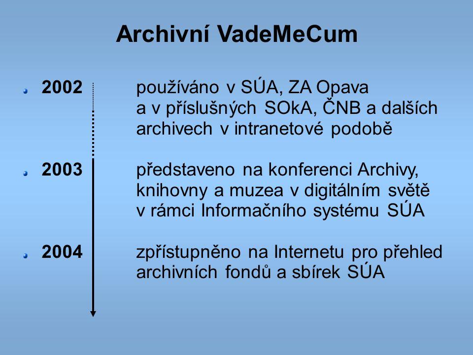 Archivní VadeMeCum 2002používáno v SÚA, ZA Opava a v příslušných SOkA, ČNB a dalších archivech v intranetové podobě 2003představeno na konferenci Arch