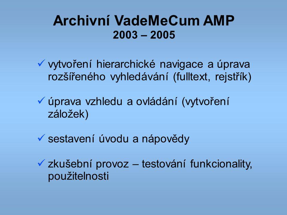 Archivní VadeMeCum AMP 2003 – 2005 vytvoření hierarchické navigace a úprava rozšířeného vyhledávání (fulltext, rejstřík) úprava vzhledu a ovládání (vy