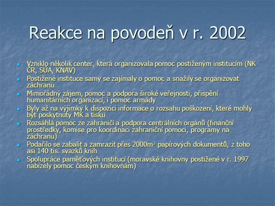 Reakce na povodeň v r. 2002 Vzniklo několik center, která organizovala pomoc postiženým institucím (NK ČR, SÚA, KNAV) Vzniklo několik center, která or