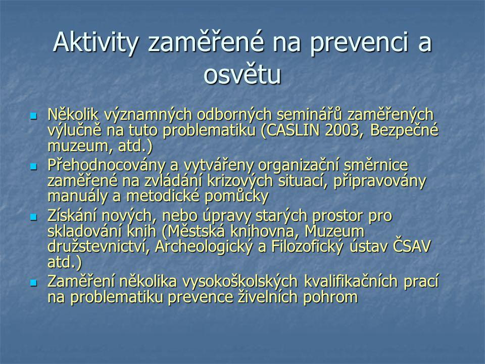 Aktivity zaměřené na prevenci a osvětu Několik významných odborných seminářů zaměřených výlučně na tuto problematiku (CASLIN 2003, Bezpečné muzeum, at