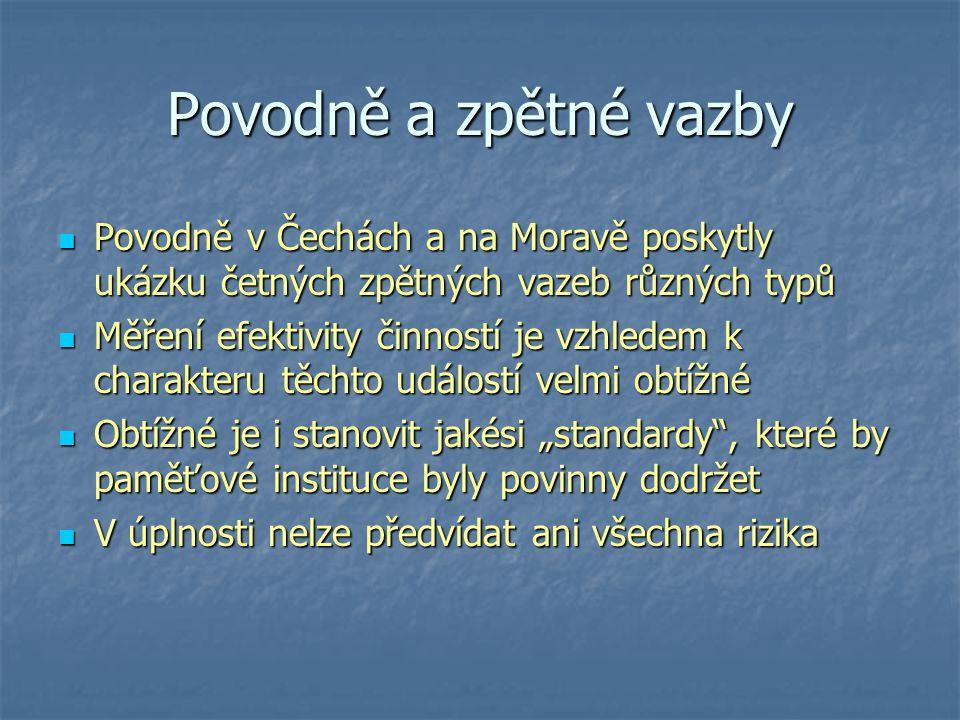 Povodně a zpětné vazby Povodně v Čechách a na Moravě poskytly ukázku četných zpětných vazeb různých typů Povodně v Čechách a na Moravě poskytly ukázku