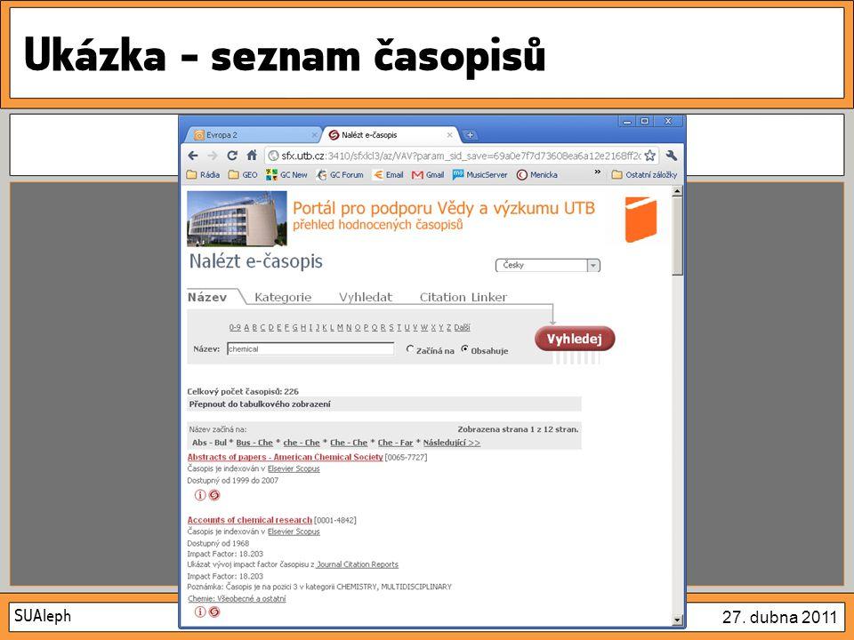 SUAleph 27. dubna 2011 Ukázka – možnosti vyhledávání