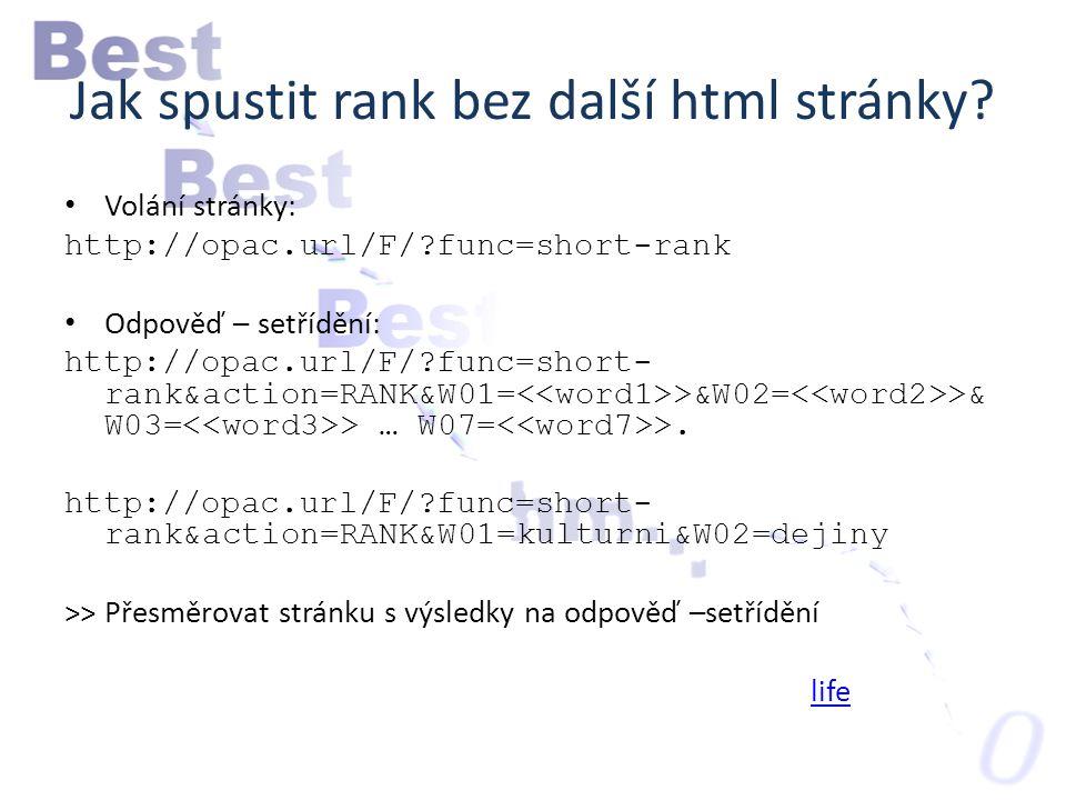 Jak spustit rank bez další html stránky.