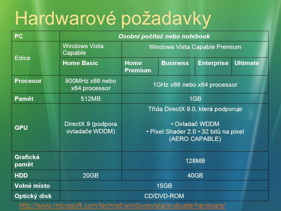 Hardwarové požadavky PC Osobní počítač nebo notebook Edice Windows Vista Capable Windows Vista Capable Premium Home BasicHome Premium BusinessEnterpri